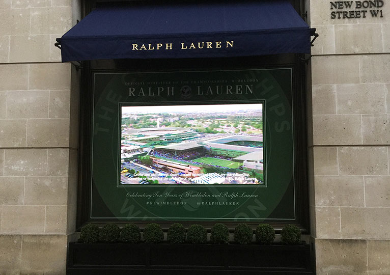 Ralph Lauren Shop Window Digital Screen installed by Fonix LED